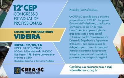 Videira sedia encontro preparatório para o Congresso de Profissionais da Engenharia e Agronomia de SC no dia 17 de maio