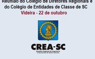 Diretores e coordenadores do CREA/SC  terão programação em Videira no fim de semana