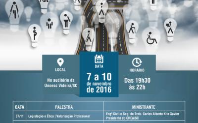 Mobilidade urbana será tema de Seminário promovido pela AREAVID, CREA e UNOESC