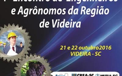 Videira sedia 1º Encontro Regional de Engenheiros e Agrônomos nos dias 21 e 22