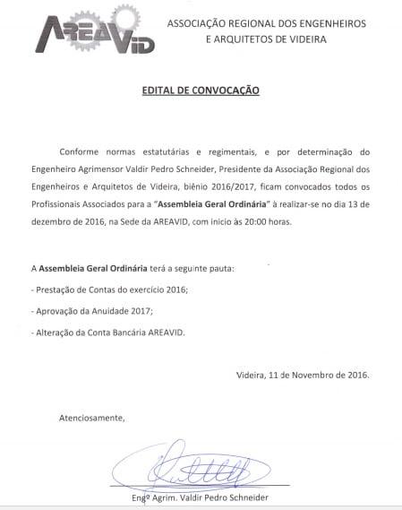 Convocação Assembleia Geral Anual  AREAVID