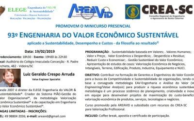 AREAVID promove curso de Engenharia de valor econômico sustentável