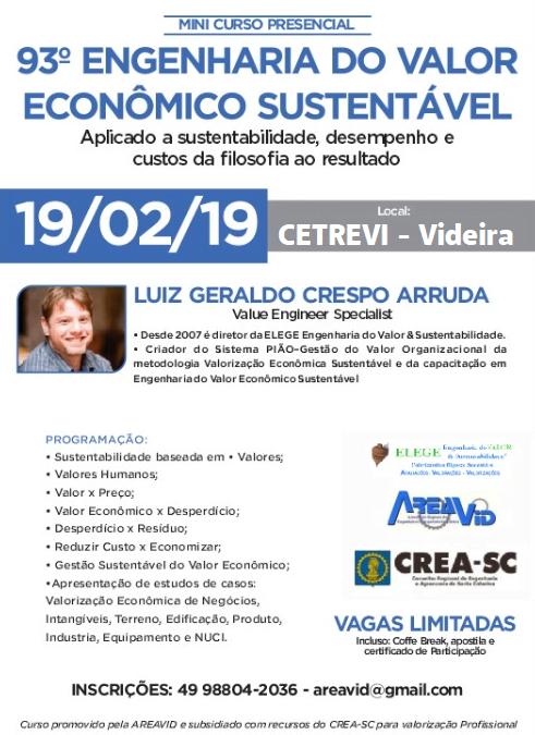 Alteração local Mini Curso Engenharia do valor econômico sustentável