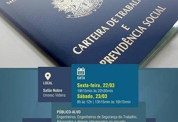 Aposentadoria Especial X Insalubridade e Periculosidade será tema de curso promovido pela AREAVID e UNOESC