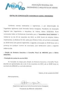 edital assembleia ordinária Areavid