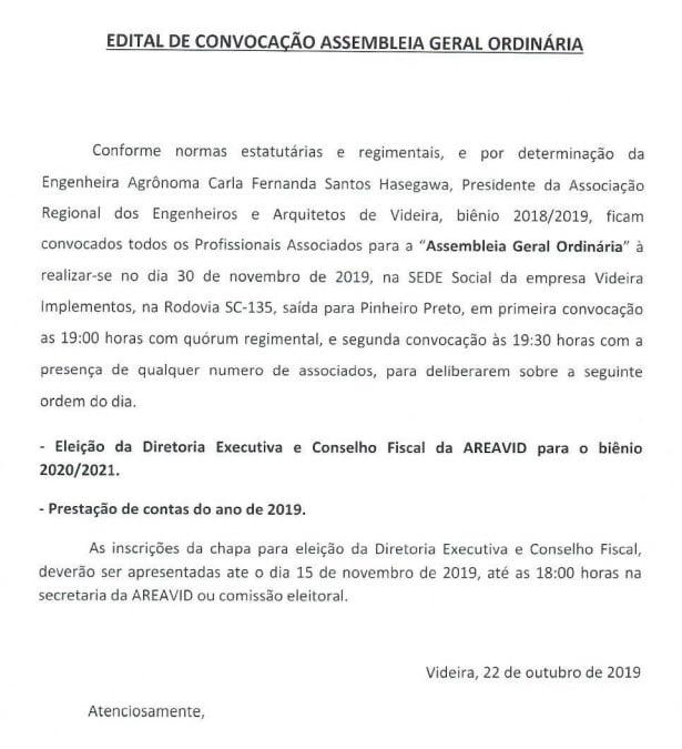 Edital de convocação Assembleia Geral Ordinária